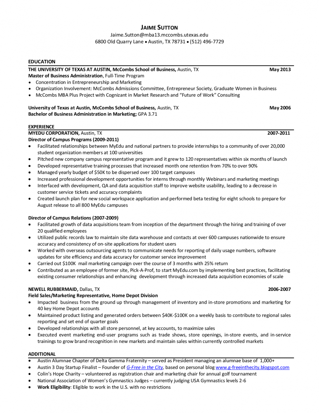 Cover Letter Template Mccombs