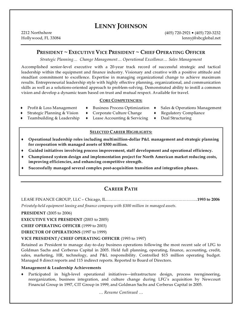 Resume Format Executive