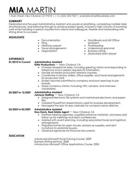 Resume Format Administrative Assistant