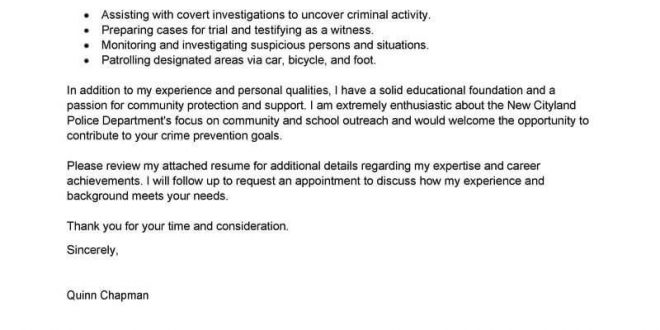 Cover Letter Template Law Enforcement