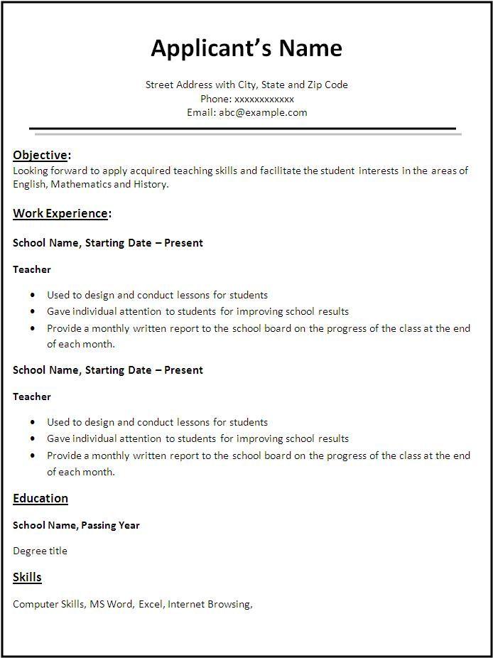 Resume Format Teacher