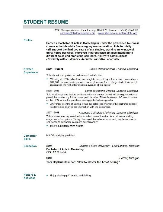 Resume Format New Graduate