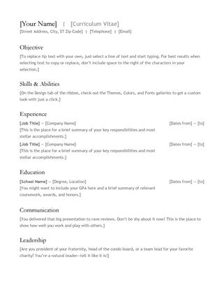 Cv Template Office 365