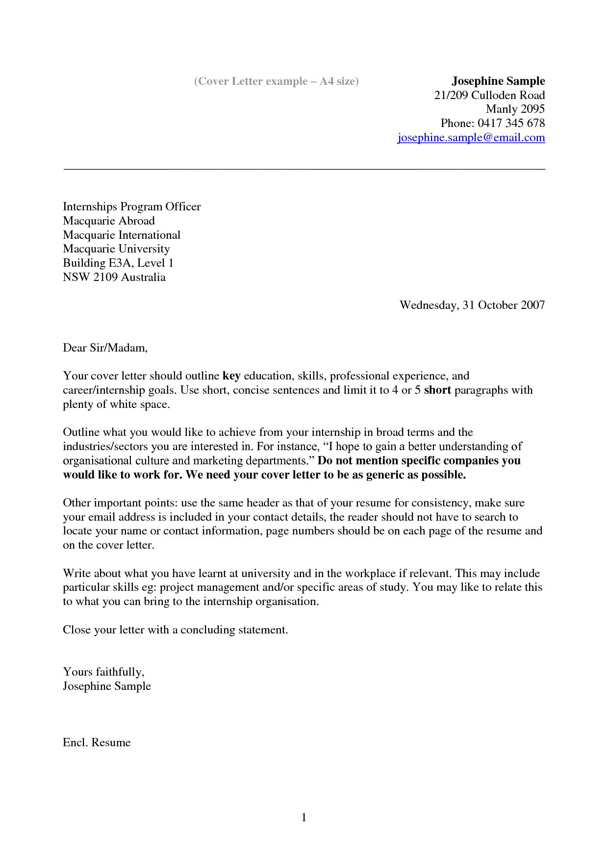Cover Letter Template Australia