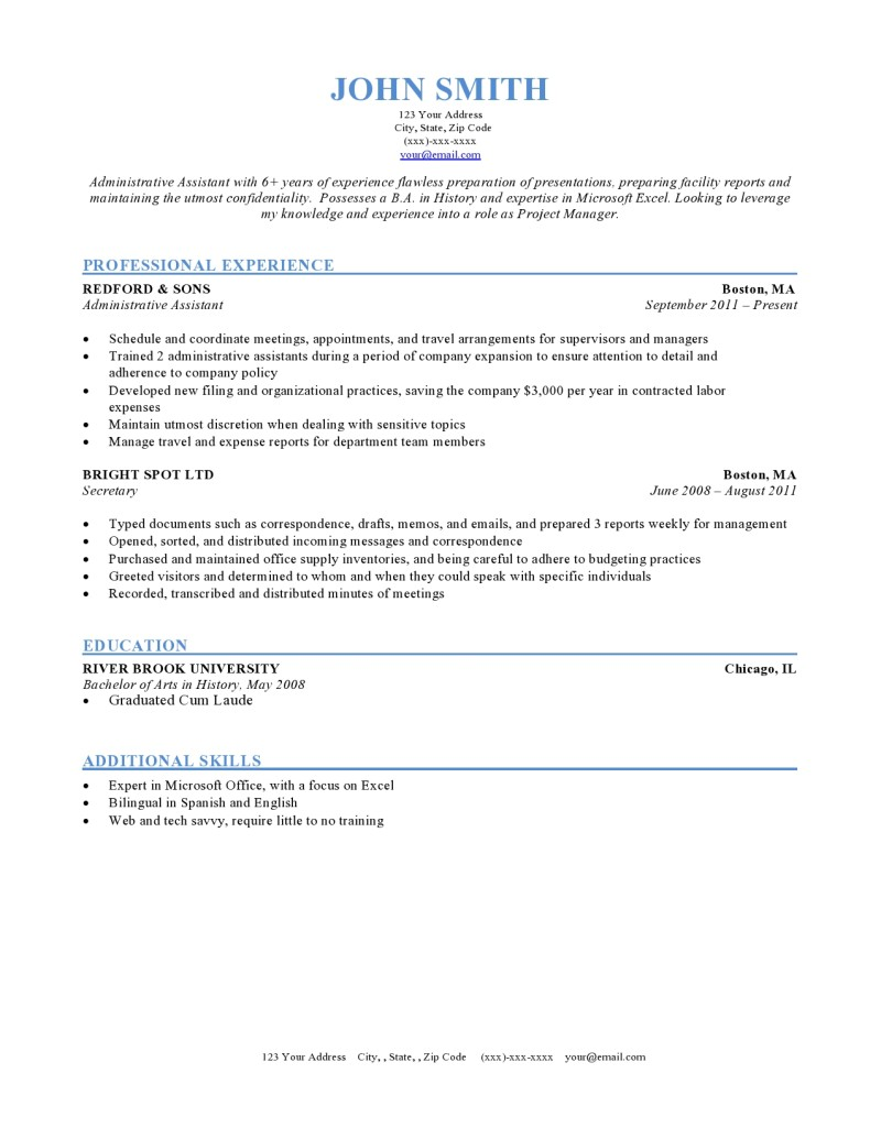 Resume Format Chronological