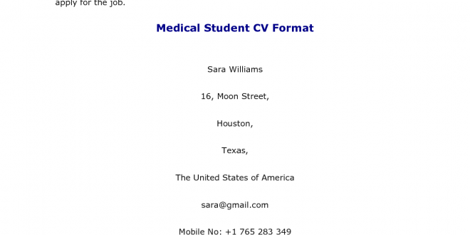 Resume Format For Medical Jobs