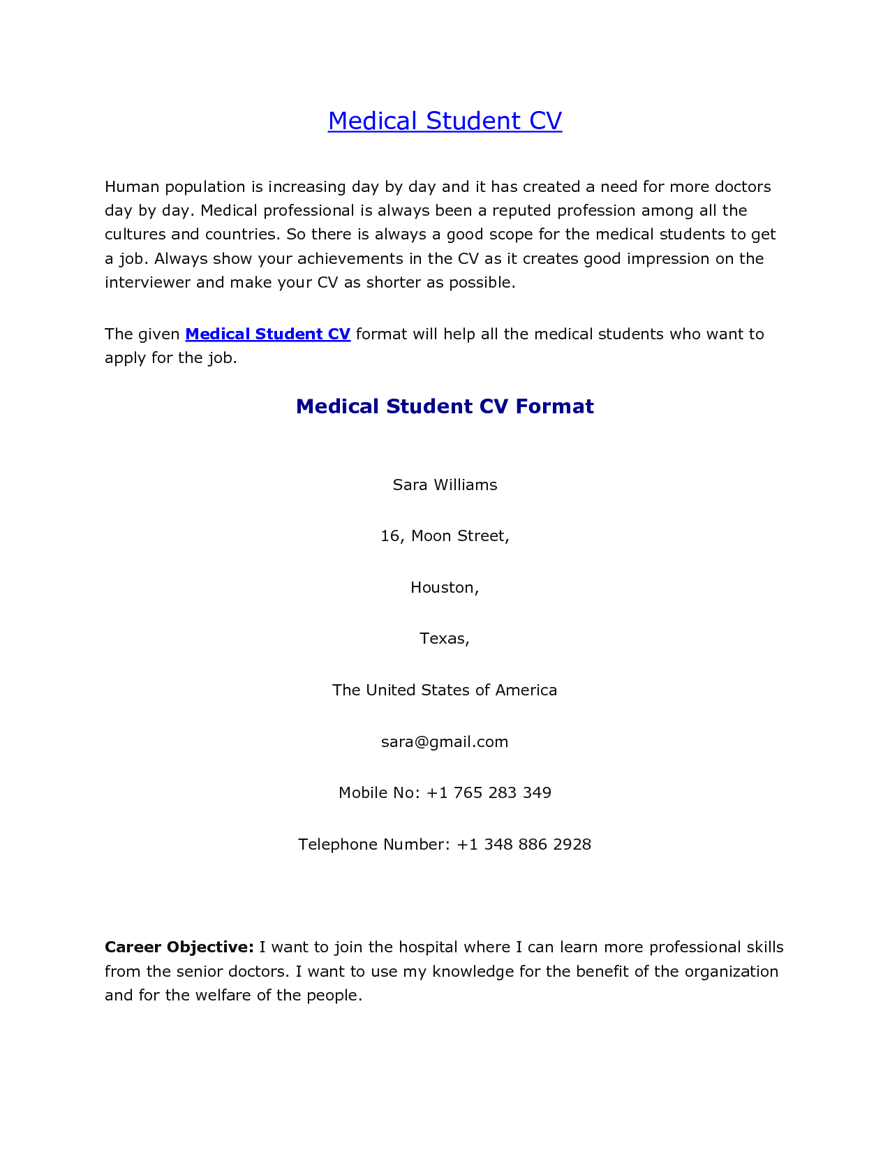 Cv Template Medical Student