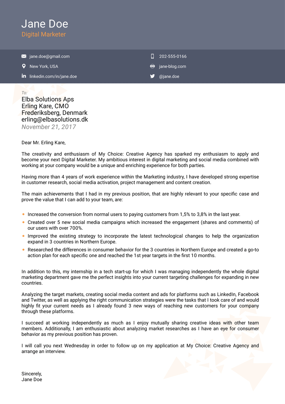Cover Letter Template On Pages