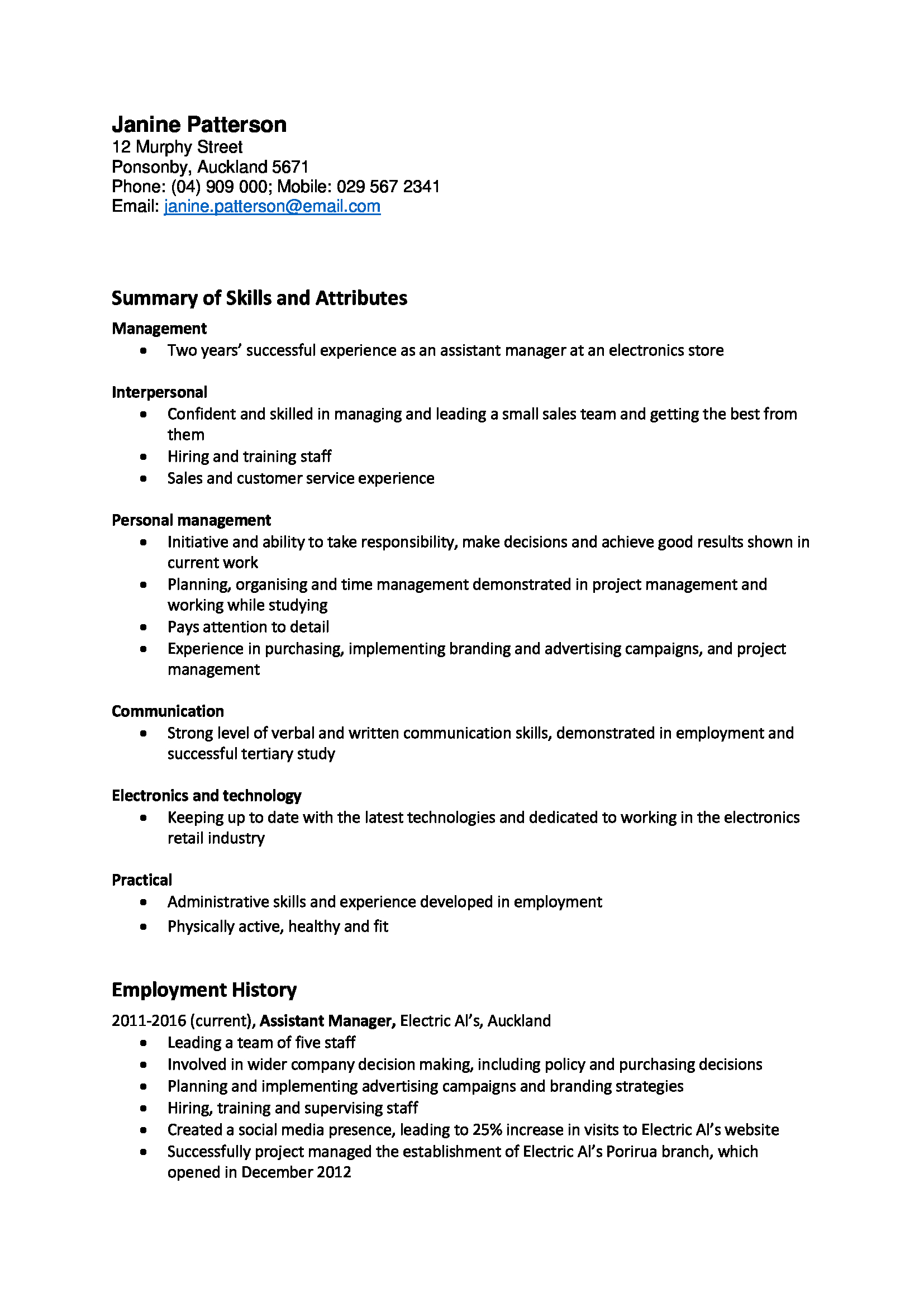Cover Letter Template Nz