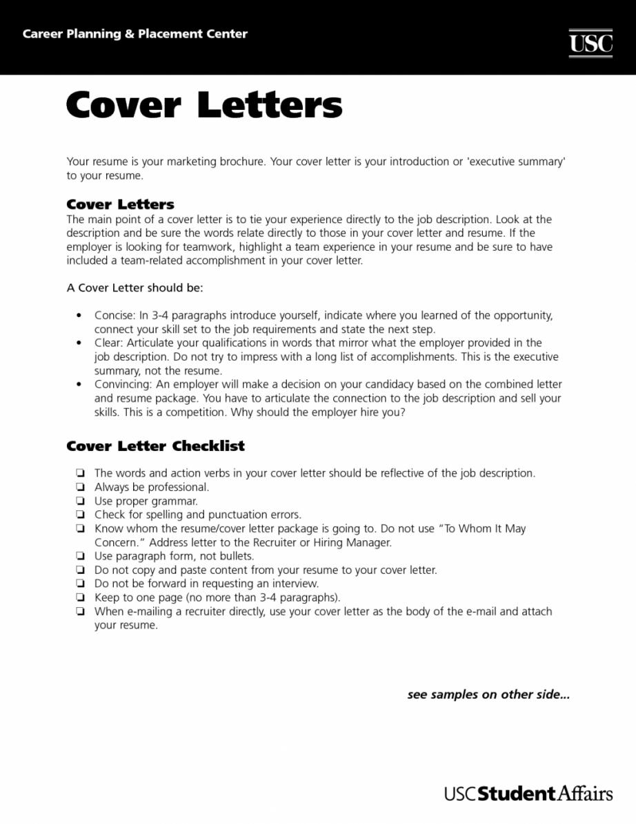 Cover Letter Template Usc