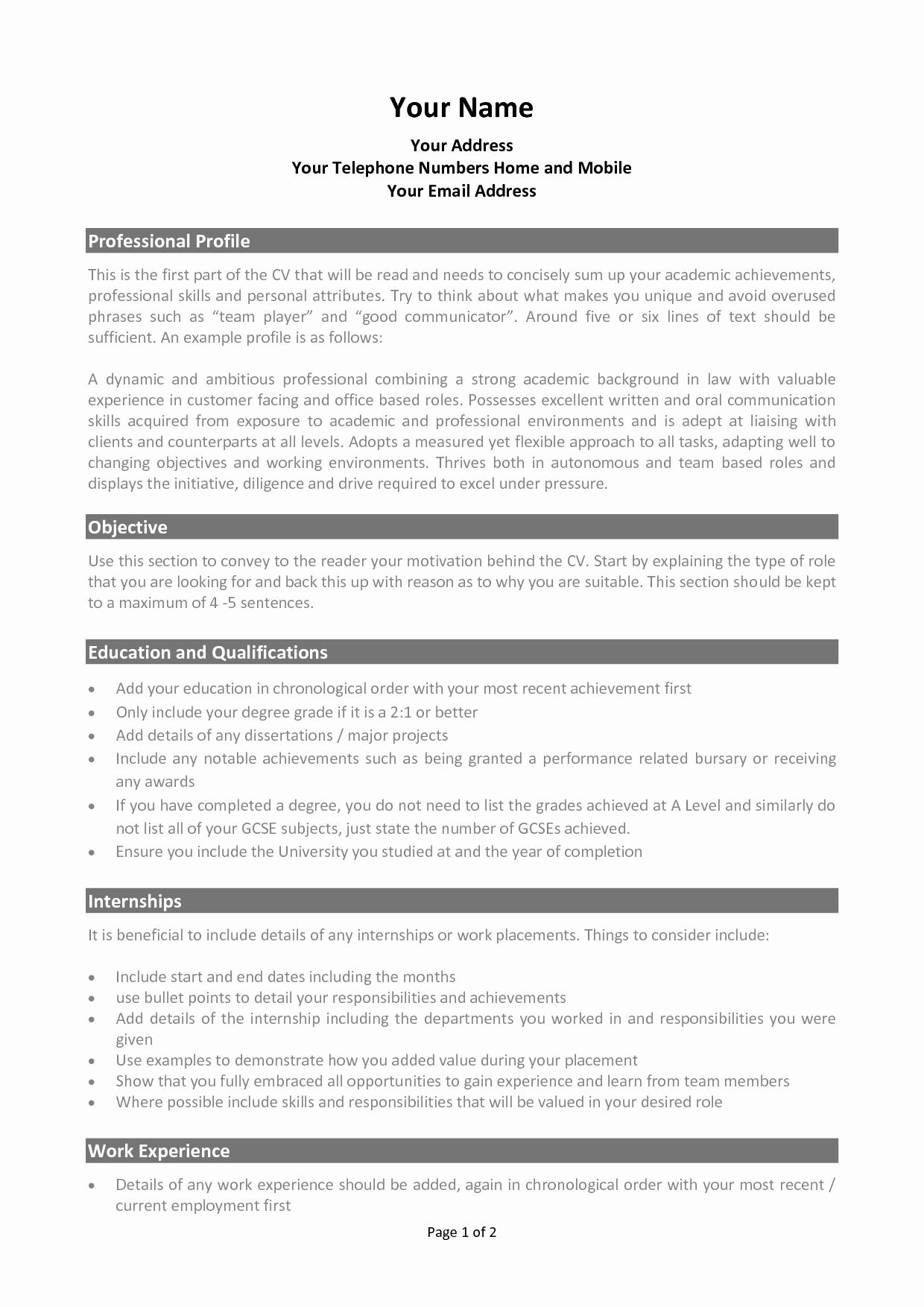 Resume Format Academic