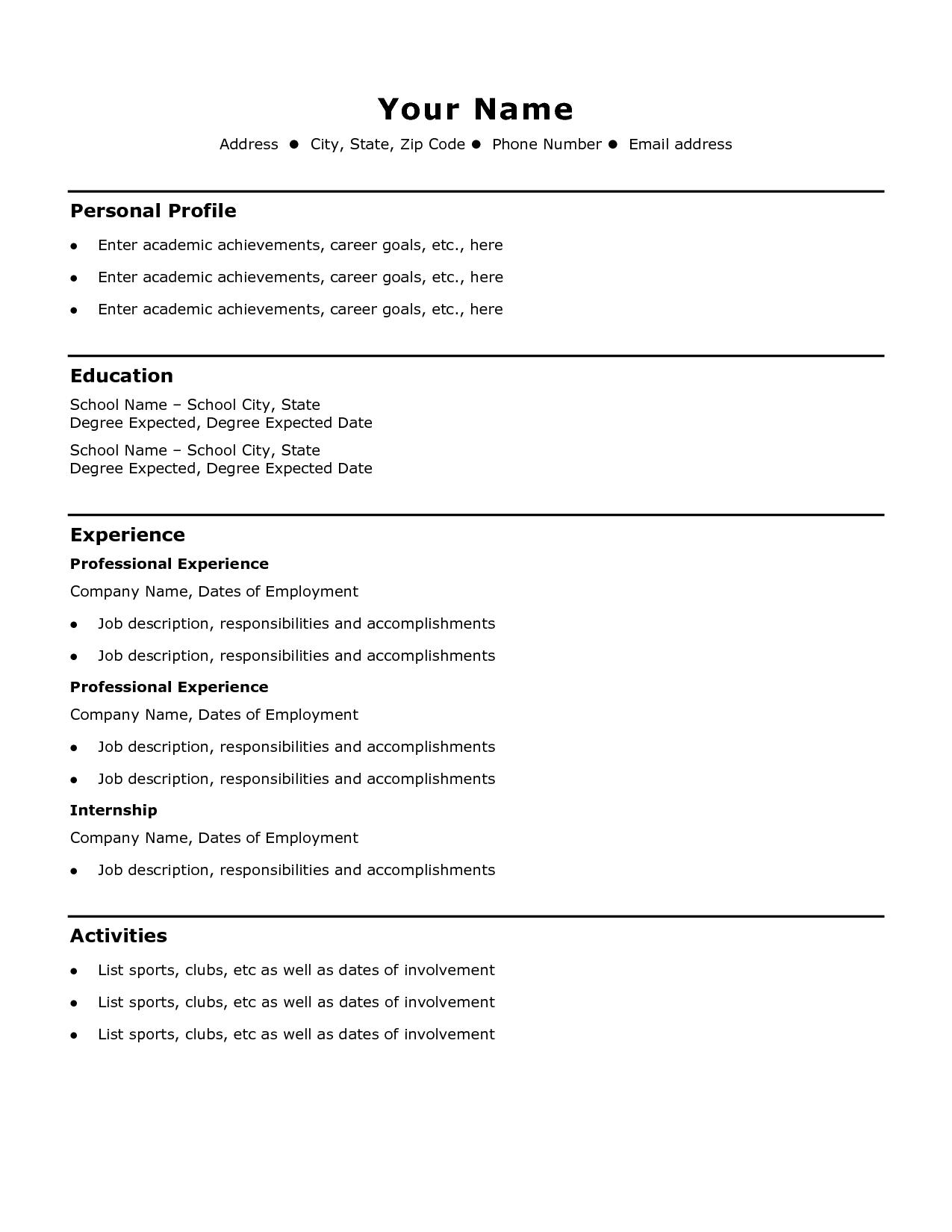 Cv Template Basic