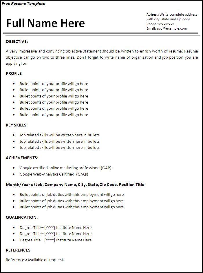 Resume Format Free