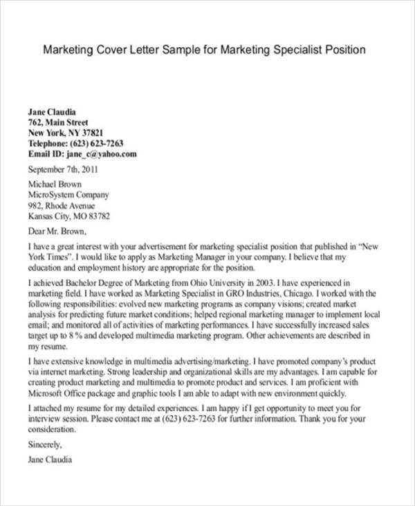 Cover Letter Template Marketing